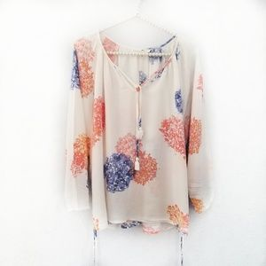 Lovestitch | Boho Floral Tassels Peasant Top